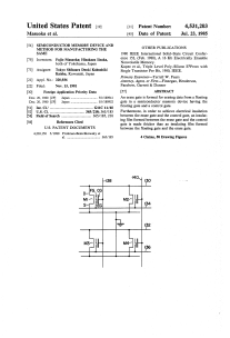 US Patent US4531203: Semiconductor memory device and method for manufacturing the same